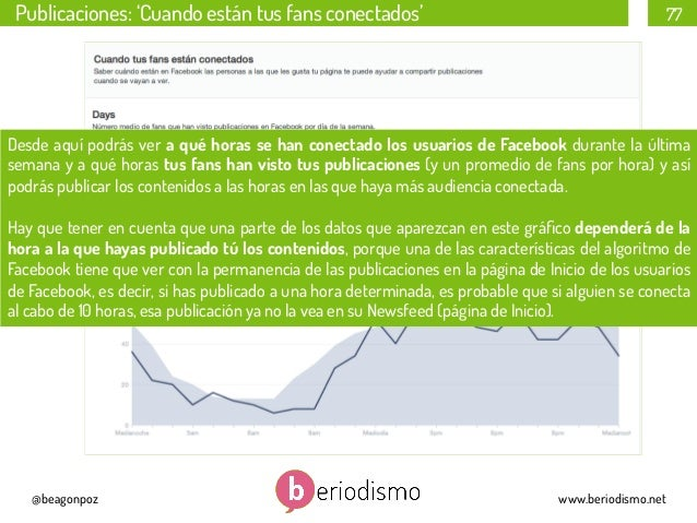 Publicaciones: 'Cuando están tus fans conectados'  77  Desde aquípodrás ver a qué horas se han conectado los usuarios de ...