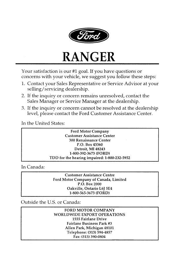 manual ford ranger 96 rh slideshare net 1996 ford ranger owners manual Ford Ranger Fuse Box Diagram