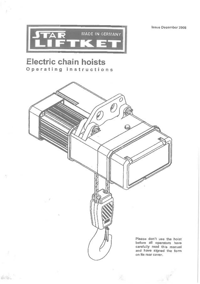 manual for liftket electrical chain hoist. Black Bedroom Furniture Sets. Home Design Ideas