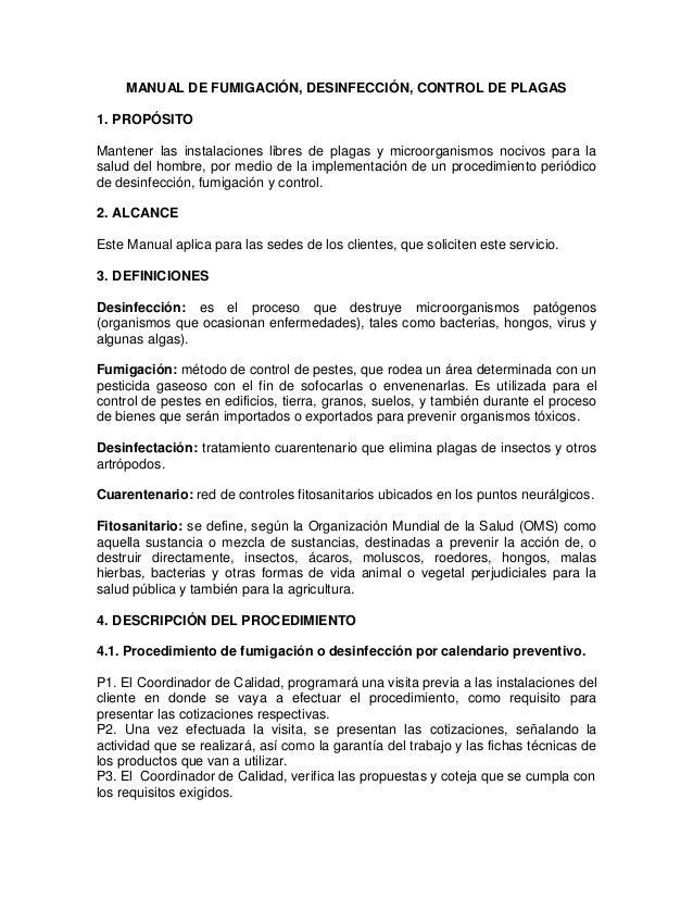 Manual fumigacion Manual de procesos y procedimientos de una empresa de alimentos
