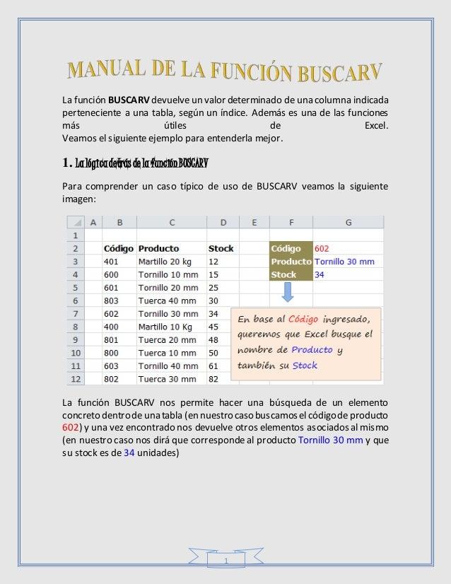 1 La función BUSCARV devuelveun valor determinado de una columna indicada perteneciente a una tabla, según un índice. Adem...