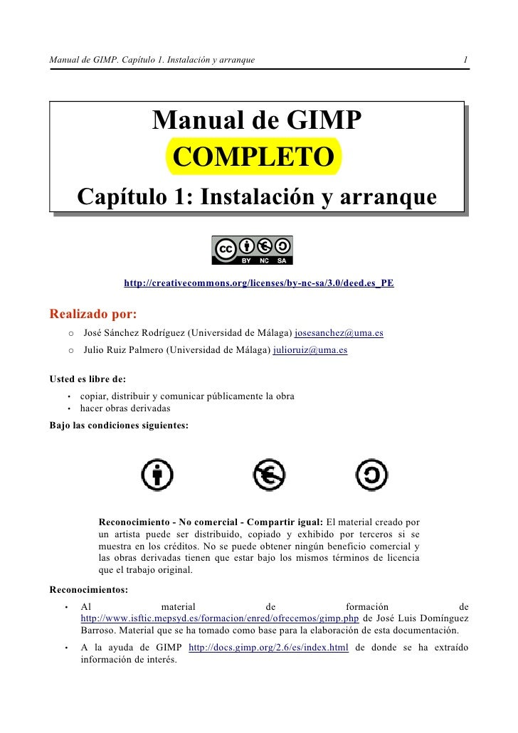 Manual de GIMP. Capítulo 1. Instalación y arranque                                                1                       ...