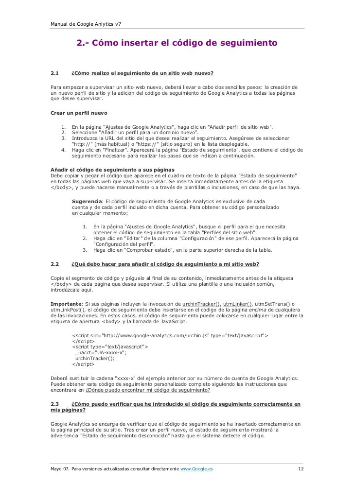 Manual de Google Anlytics v7            2.- Cómo insertar el código de seguimiento2.1        ¿Cómo realizo el seguimiento ...