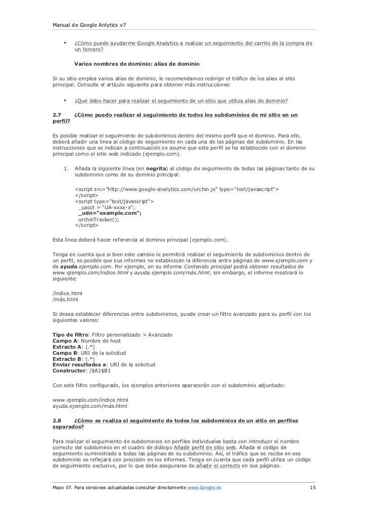 Manual de Google Anlytics v7    •    ¿Cómo puede ayudarme Google Analytics a realizar un seguimiento del carrito de la com...