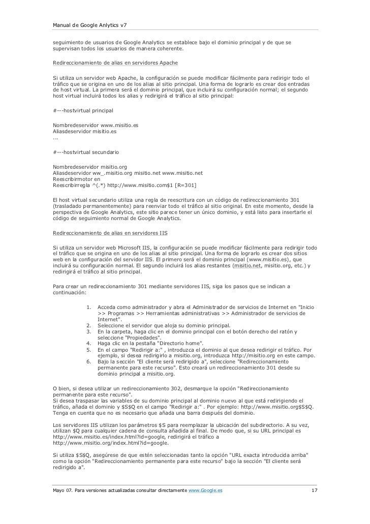 Manual de Google Anlytics v7seguimiento de usuarios de Google Analytics se establece bajo el dominio principal y de que se...