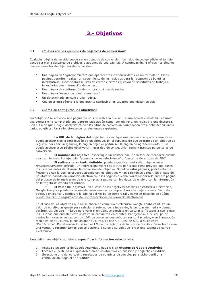 Manual de Google Anlytics v7                                            3.- Objetivos3.1        ¿Cuáles son los ejemplos d...