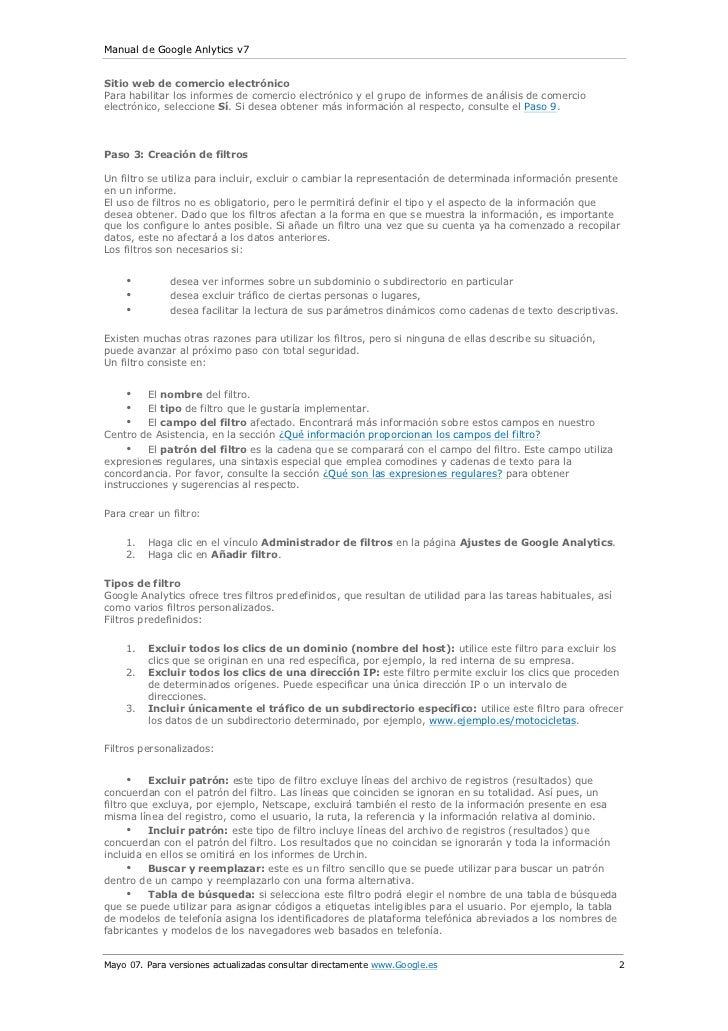 Manual de Google Anlytics v7Sitio web de comercio electrónicoPara habilitar los informes de comercio electrónico y el grup...