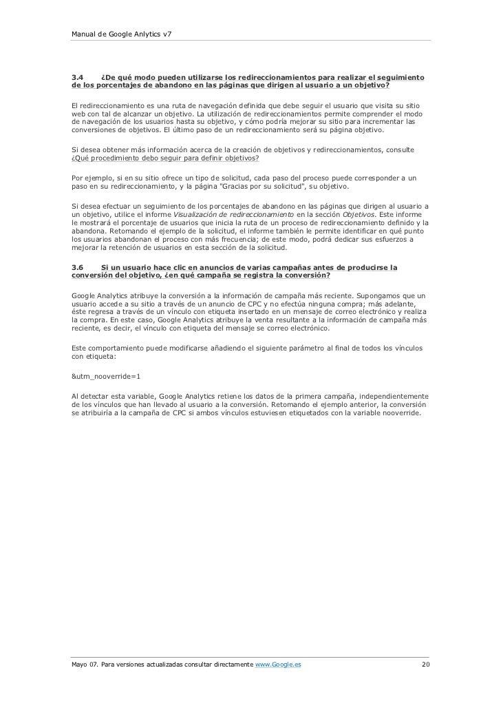 Manual de Google Anlytics v73.4     ¿De qué modo pueden utilizarse los redireccionamientos para realizar el seguimientode ...