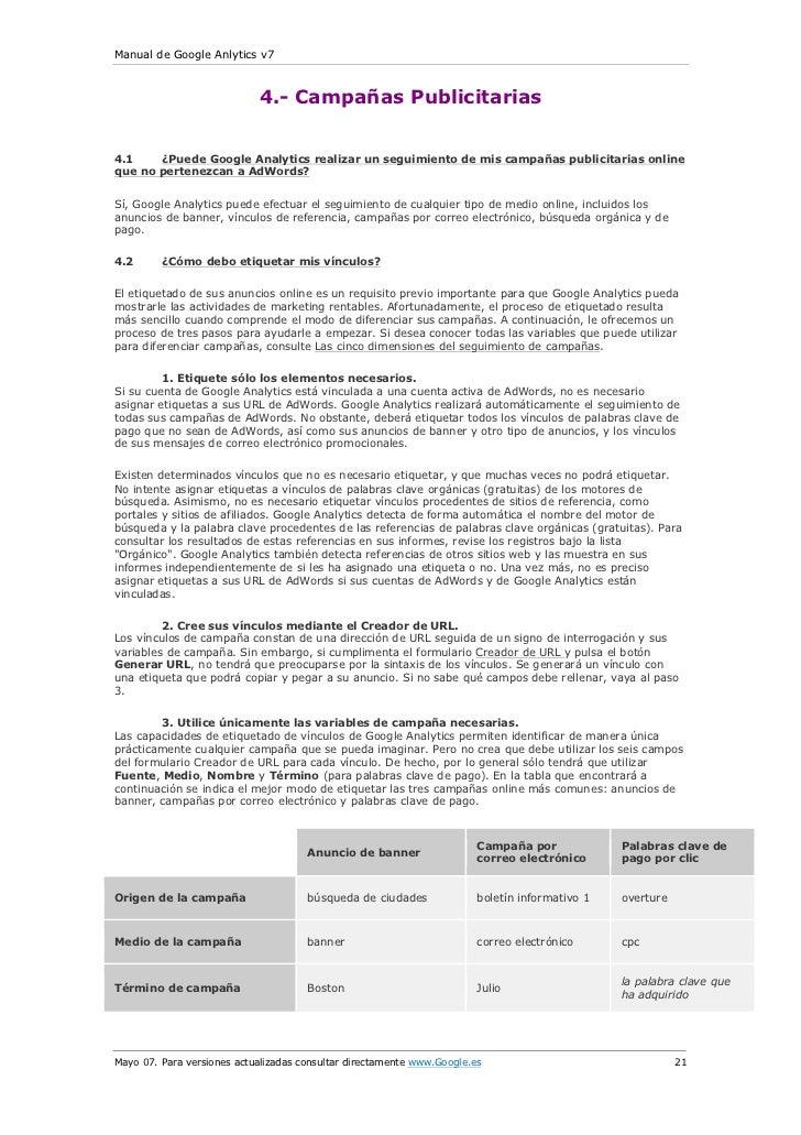 Manual de Google Anlytics v7                            4.- Campañas Publicitarias4.1    ¿Puede Google Analytics realizar ...