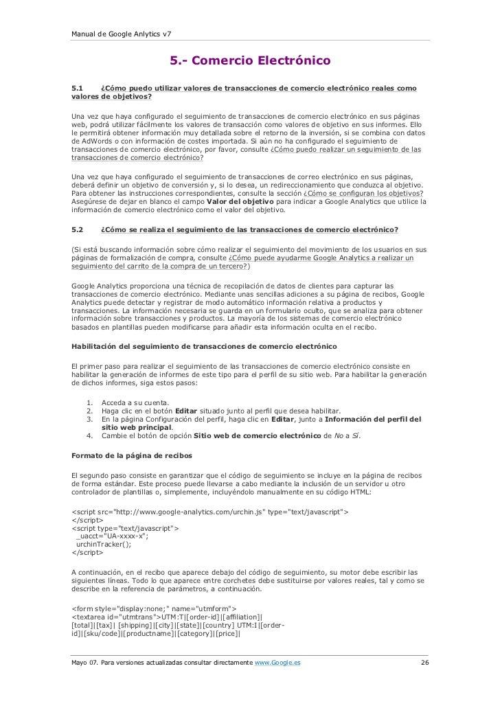 Manual de Google Anlytics v7                               5.- Comercio Electrónico5.1     ¿Cómo puedo utilizar valores de...