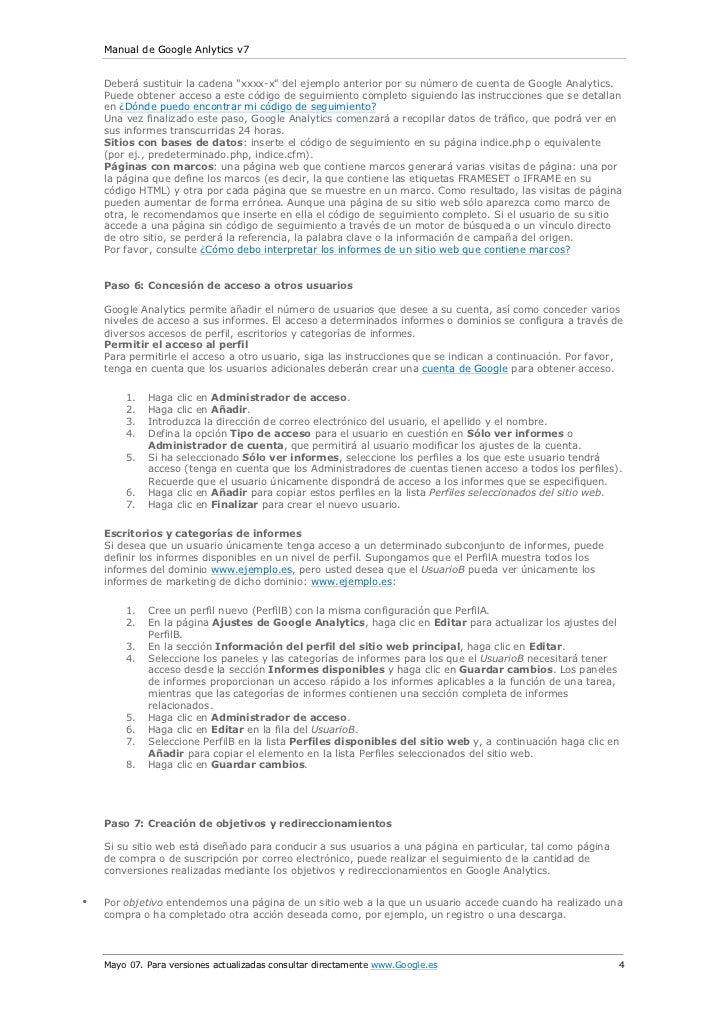 """Manual de Google Anlytics v7    Deberá sustituir la cadena """"xxxx-x"""" del ejemplo anterior por su número de cuenta de Google..."""