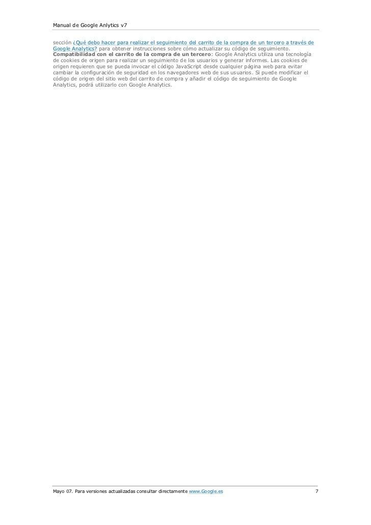 Manual de Google Anlytics v7sección ¿Qué debo hacer para realizar el seguimiento del carrito de la compra de un tercero a ...