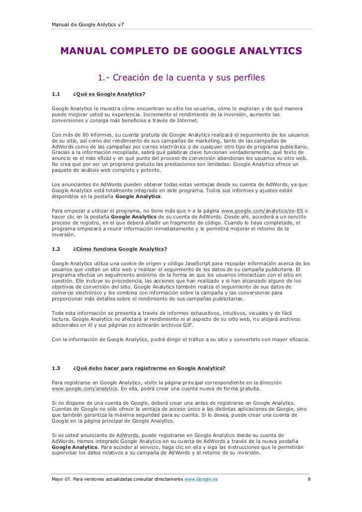 Manual de Google Anlytics v7   MANUAL COMPLETO DE GOOGLE ANALYTICS                    1.- Creación de la cuenta y sus perf...