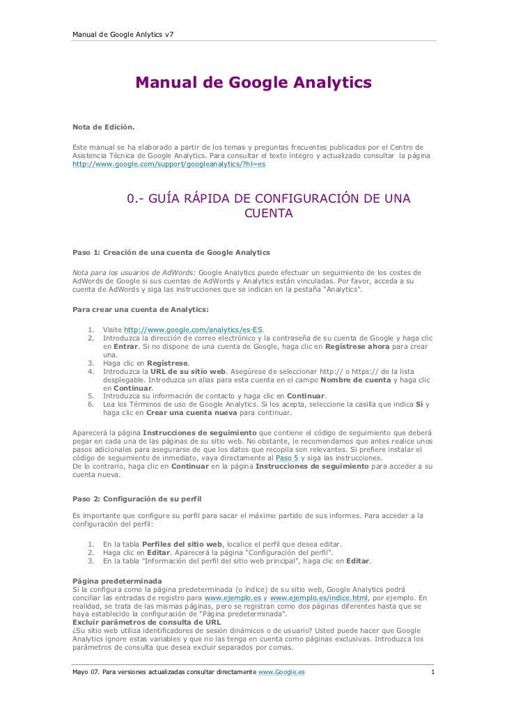 Manual de Google Anlytics v7                   Manual de Google AnalyticsNota de Edición.Este manual se ha elaborado a par...