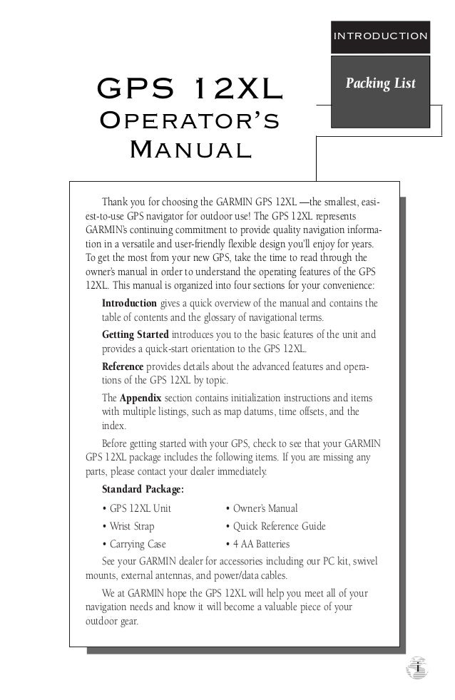 manual gps 12 xl rh slideshare net Garmin Model 12 Garmin GPS Instruction Manual