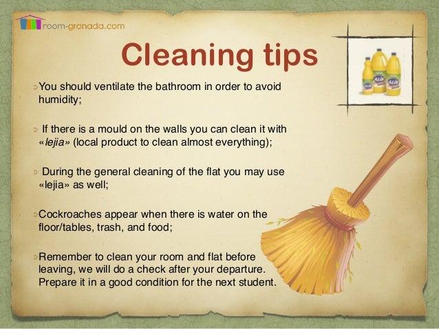 Room granada guide for tenants for Housekeeping bathroom cleaning procedure