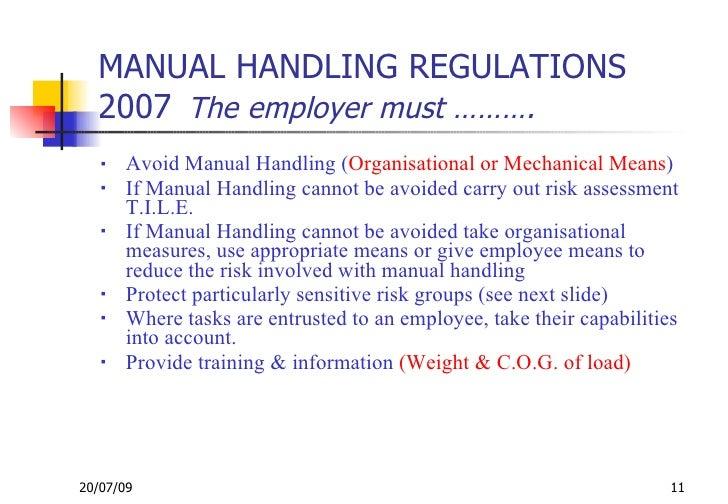 manual handling of loads rh slideshare net OSHA Manual Handling Manual Handling Risk Assessment