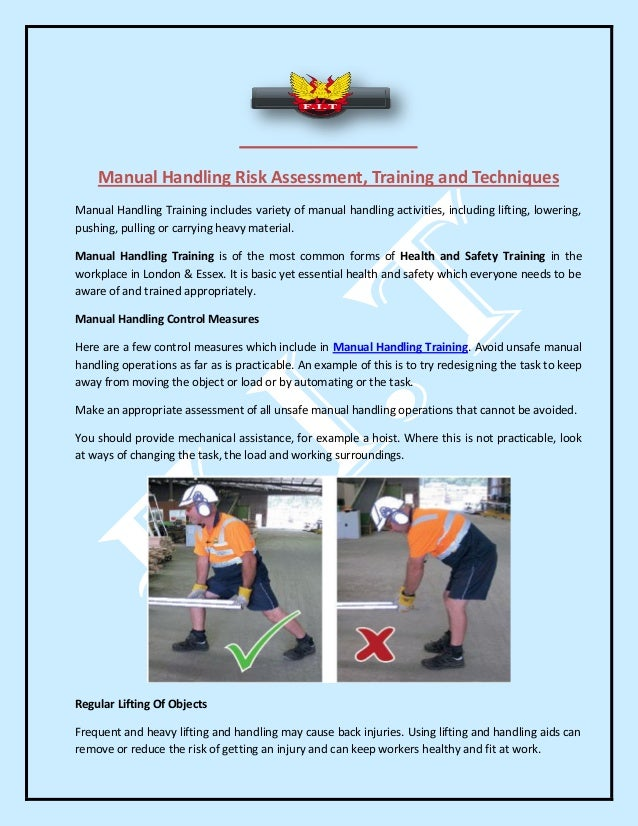 Manual Handling Risk Assessment, Training And Techniques