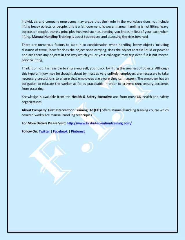 manual handling risk assessment pdf