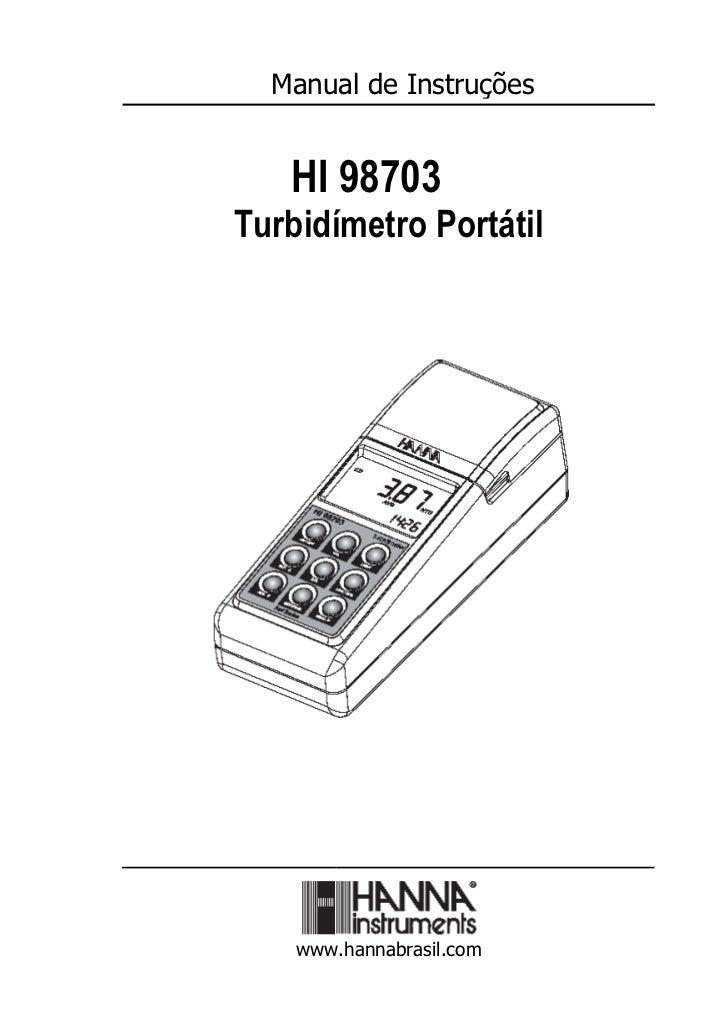 Manual de Instruções   HI 98703Turbidímetro Portátil    www.hannabrasil.com