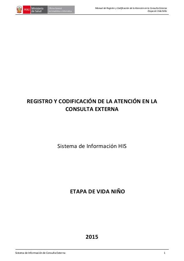 Sistema de Información de Consulta Externa 1 Manual de Registro y Codificación de la Atención en la Consulta Externa Etapa...