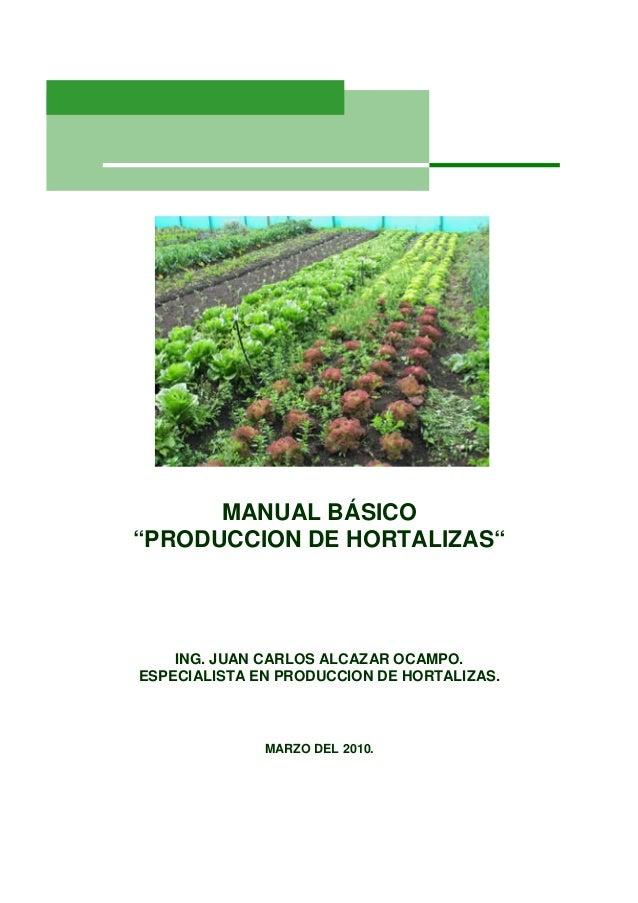 """MANUAL BÁSICO""""PRODUCCION DE HORTALIZAS""""    ING. JUAN CARLOS ALCAZAR OCAMPO.ESPECIALISTA EN PRODUCCION DE HORTALIZAS.      ..."""