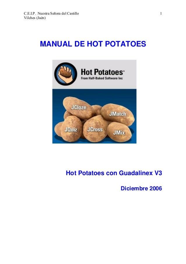 1  C.E.I.P. Nuestra Señora del Castillo Vilches (Jaén)  MANUAL DE HOT POTATOES  Hot Potatoes con Guadalinex V3 Diciembre 2...