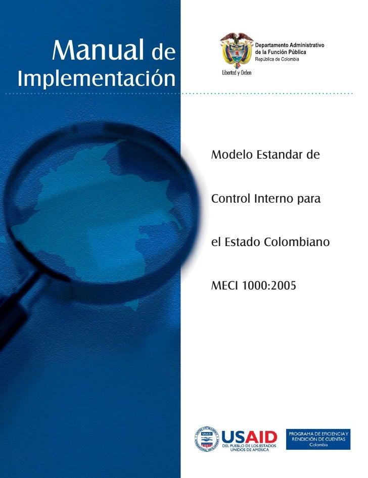Manual de Implementación                    Modelo Estandar de                    Control Interno para                    ...