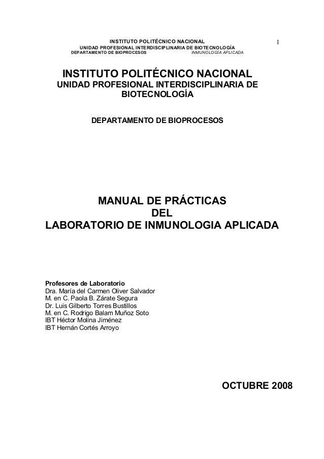 INSTITUTO POLITÉCNICO NACIONAL                     1           UNIDAD PROFESIONAL INTERDISCIPLINARIA DE BIOTECNOLOGÍA     ...