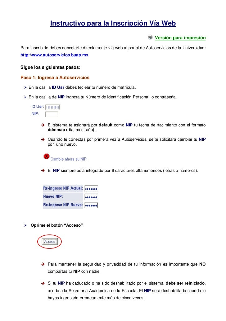 Instructivo para la Inscripción Vía Web                                                                        Versión par...