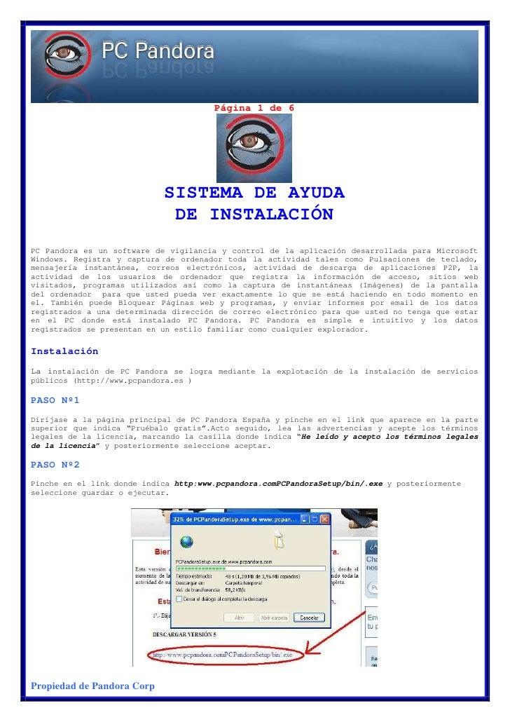 Página 1 de 6                                 SISTEMA DE AYUDA                              DE INSTALACIÓN PC Pandora es u...