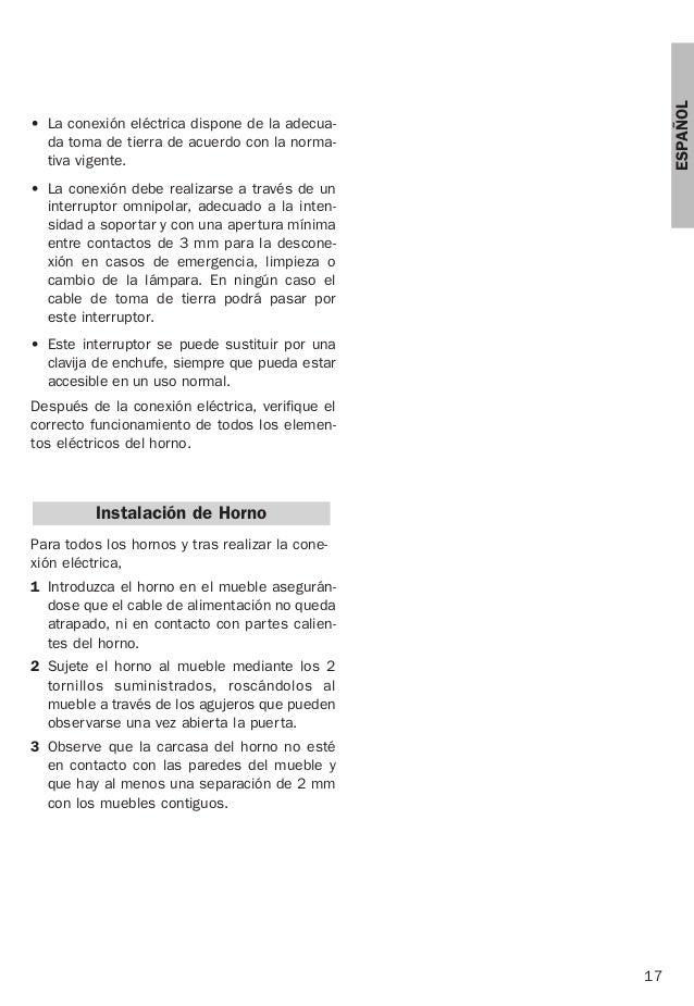 17 ESPAÑOL • La conexión eléctrica dispone de la adecua- da toma de tierra de acuerdo con la norma- tiva vigente. • La con...