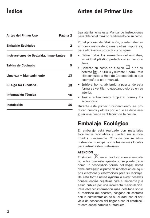 Índice Antes del Primer Uso Página 2 Embalaje Ecológico 2 Instrucciones de Seguridad Importantes 8 Tablas de Cocinado 9 Li...