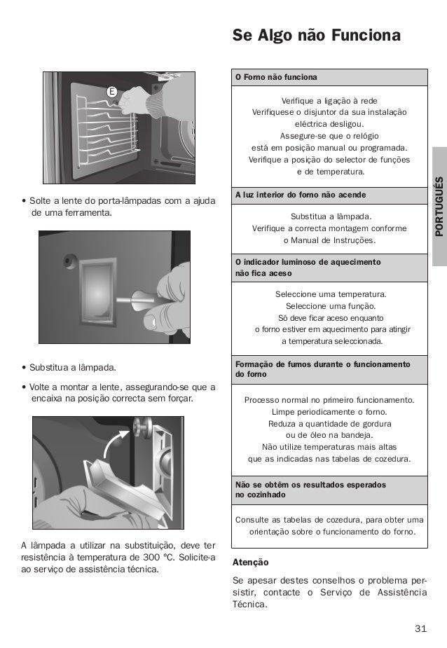 31 PORTUGUÉS • Substitua a lâmpada. • Volte a montar a lente, assegurando-se que a encaixa na posição correcta sem forçar....