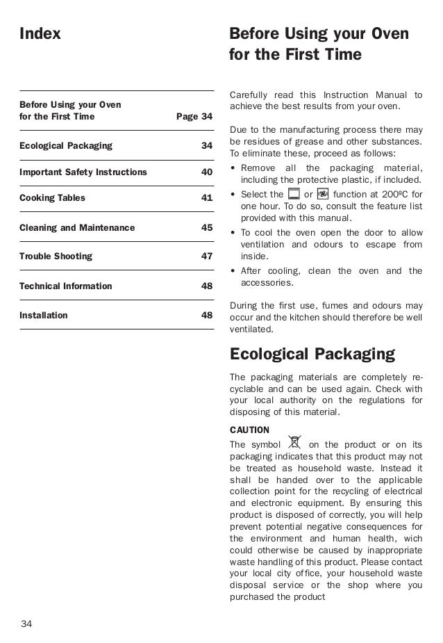34 Index Before Using your Oven for the First Time Page 34 Ecological Packaging 34 Important Safety Instructions 40 Cookin...