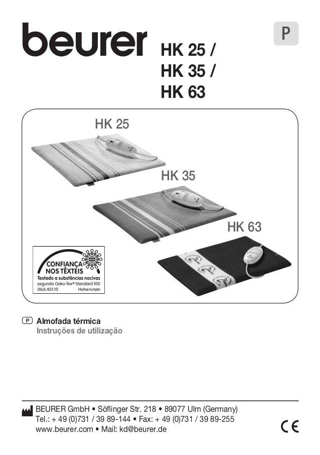 P Almofada térmica  Instruções de utilização  BEURER GmbH • Söflinger Str. 218 • 89077 Ulm (Germany)  Tel.: + 49 (0)731 / ...