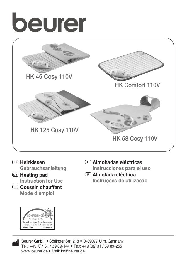 HK 45 Cosy 110V  HK 125 Cosy 110V  D Heizkissen  Gebrauchsanleitung  G Heating pad  Instruction for Use  F Coussin chauffa...