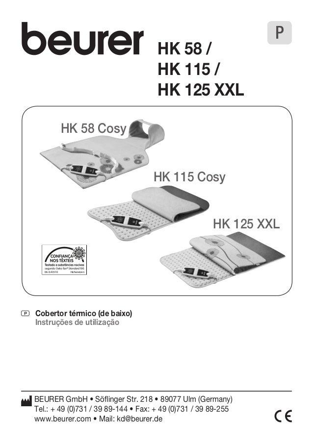 06.0.43510 Hohenstein  P Cobertor térmico (de baixo)  Instruções de utilização  BEURER GmbH • Söflinger Str. 218 • 89077 U...