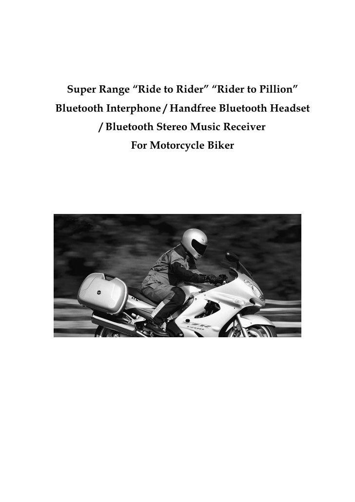 "Super Range ""Ride to Rider"" ""Rider to Pillion""Bluetooth Interphone / Handfree Bluetooth Headset        / Bluetooth Stereo ..."