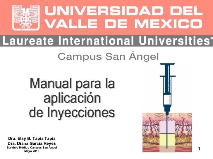 Manual para la  aplicación  de Inyecciones Dra. Elsy B. Tapia Tapia Dra. Diana García Reyes Servicio Médico Campus San Áng...