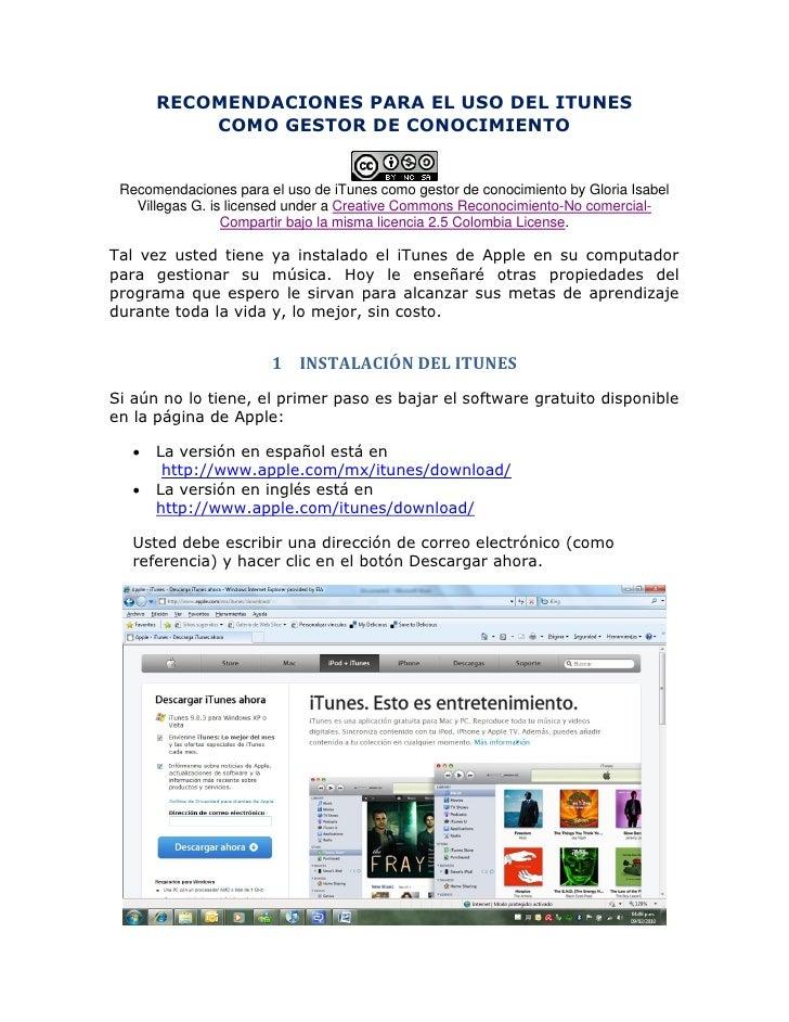 RECOMENDACIONES PARA EL USO DEL ITUNES            COMO GESTOR DE CONOCIMIENTO    Recomendaciones para el uso de iTunes com...