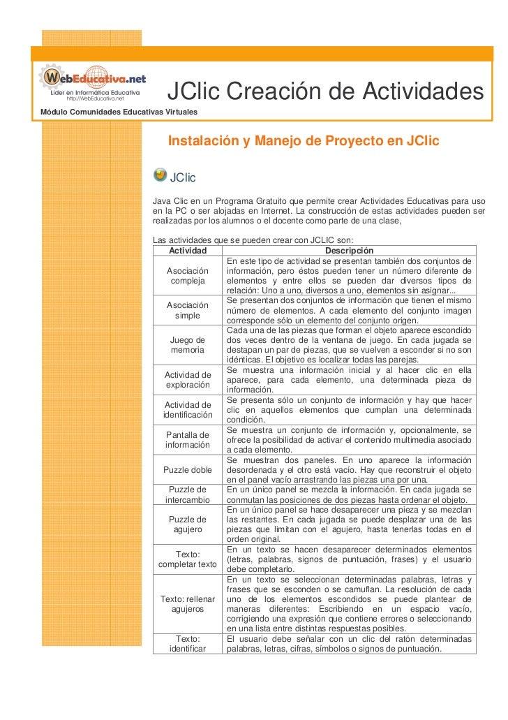 JClic Creación de Actividades Módulo Comunidades Educativas Virtuales                                  Instalación y Manej...