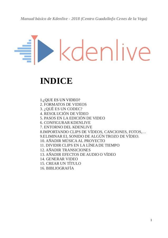 Manual básico de Kdenlive - 2018 (Centro Guadalinfo Cenes de la Vega) INDICE 1.¿QUE ES UN VIDEO? 2. FORMATOS DE VIDEOS 3. ...