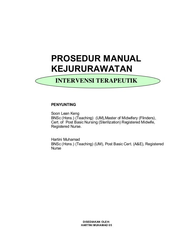 manual kejururawatan intervensi terapeutik rh slideshare net Pengertian Prosedur manual prosedur kerja kejururawatan