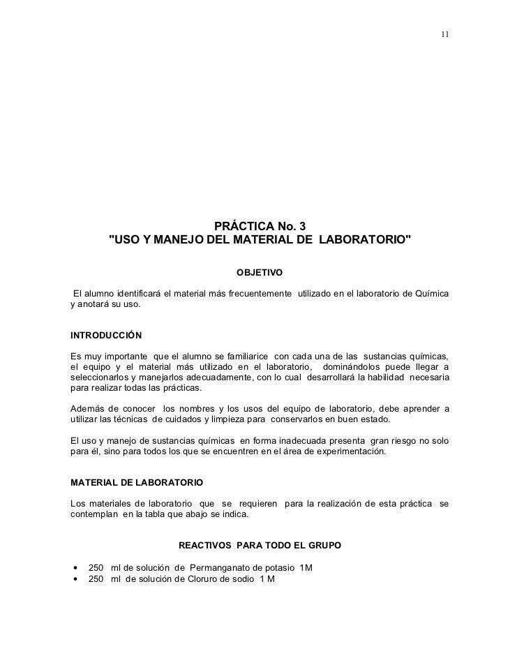 """11                             PRÁCTICA No. 3          """"USO Y MANEJO DEL MATERIAL DE LABORATORIO""""                         ..."""
