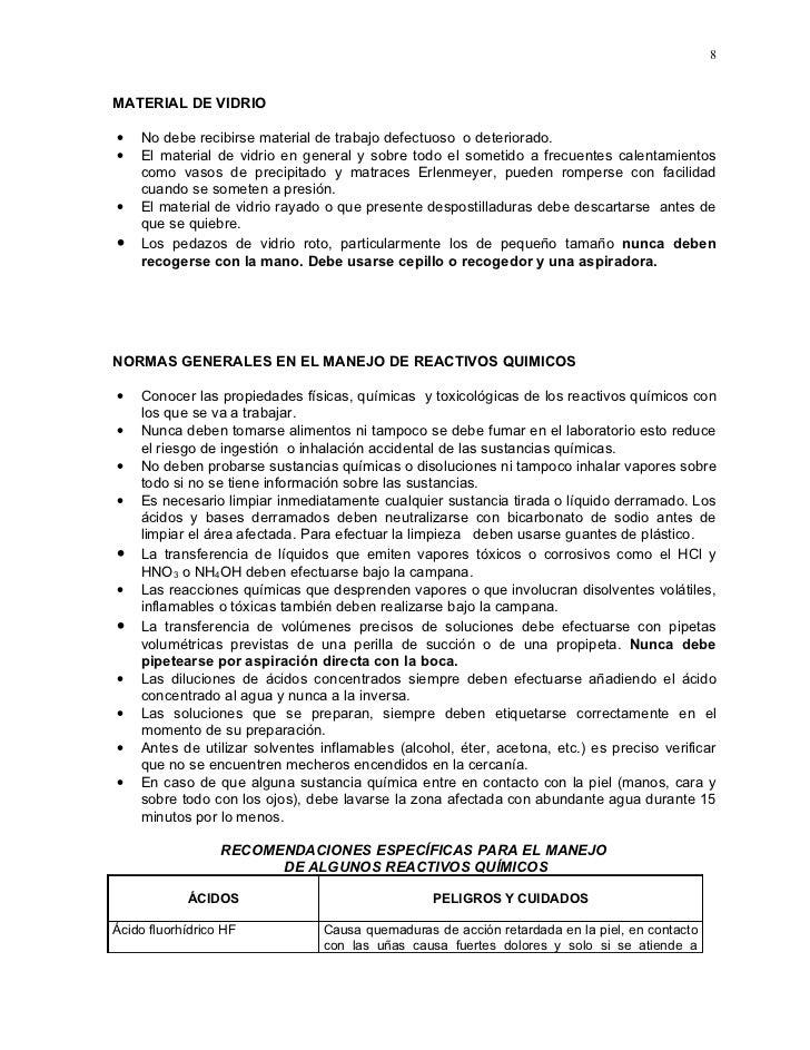 8   MATERIAL DE VIDRIO  •   No debe recibirse material de trabajo defectuoso o deteriorado. •   El material de vidrio en g...
