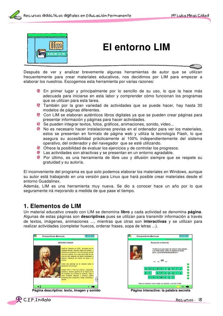 Recursos didácticos digitales en Educación Permanente                             Mª Luisa Miras Cidad                    ...