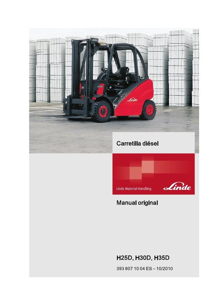 manual linde h25 d h30d h35d 393 1 rh es slideshare net linde h 25 service manual linde h25d manual
