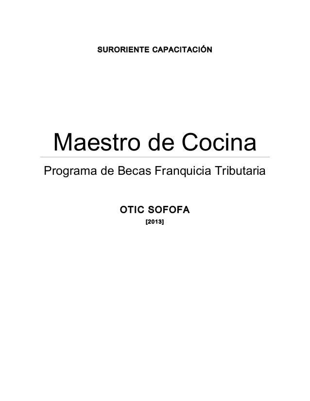 Manual maestro de cocina for Manual tecnicas culinarias