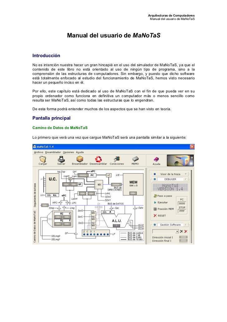 Arquitecturas de Computadores                                                                   Manual del usuario de MaNo...